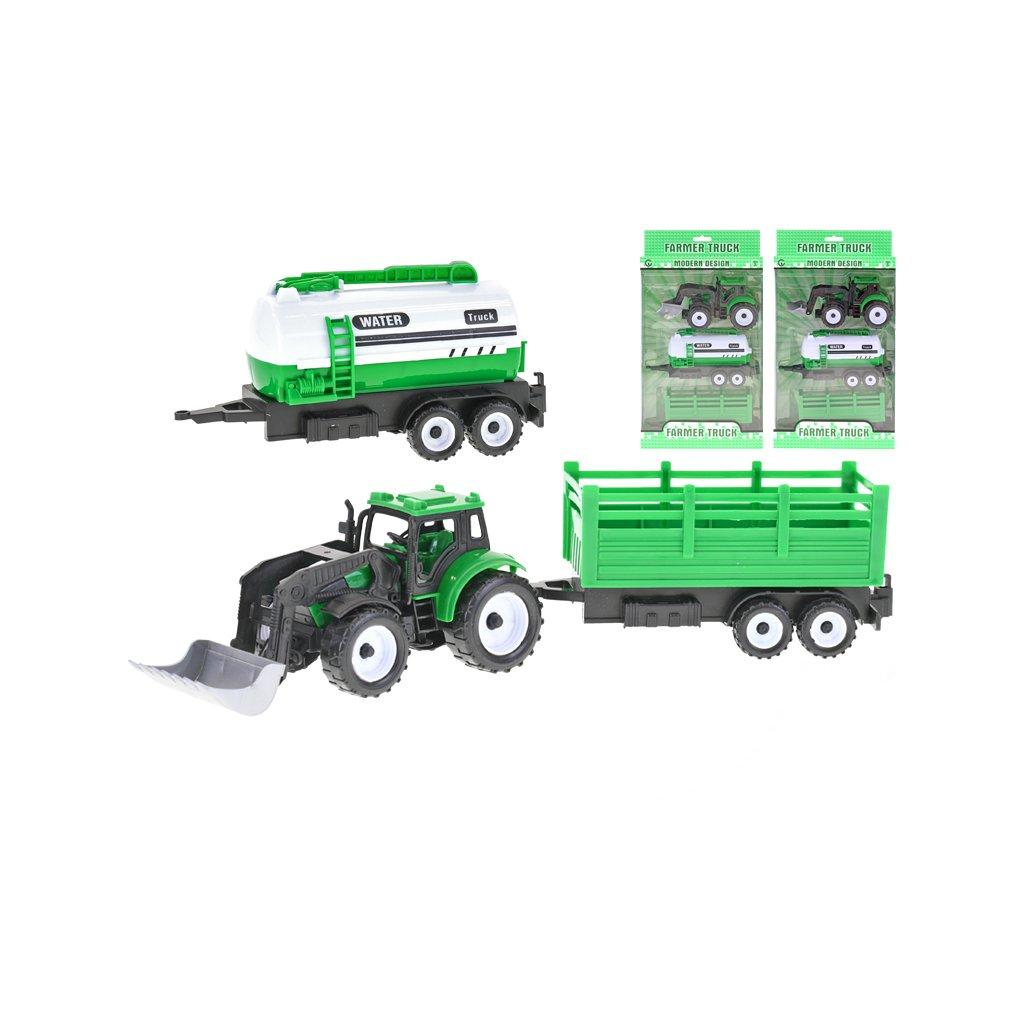 Traktor nakladač 17cm 3druhy na zotrvačník + 2vlečky v krabičke