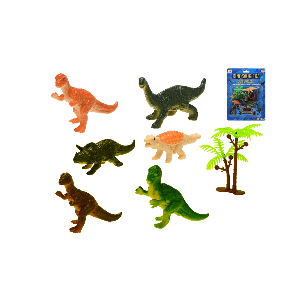 Dinosaury 7-9cm 6ks + stromček na karte