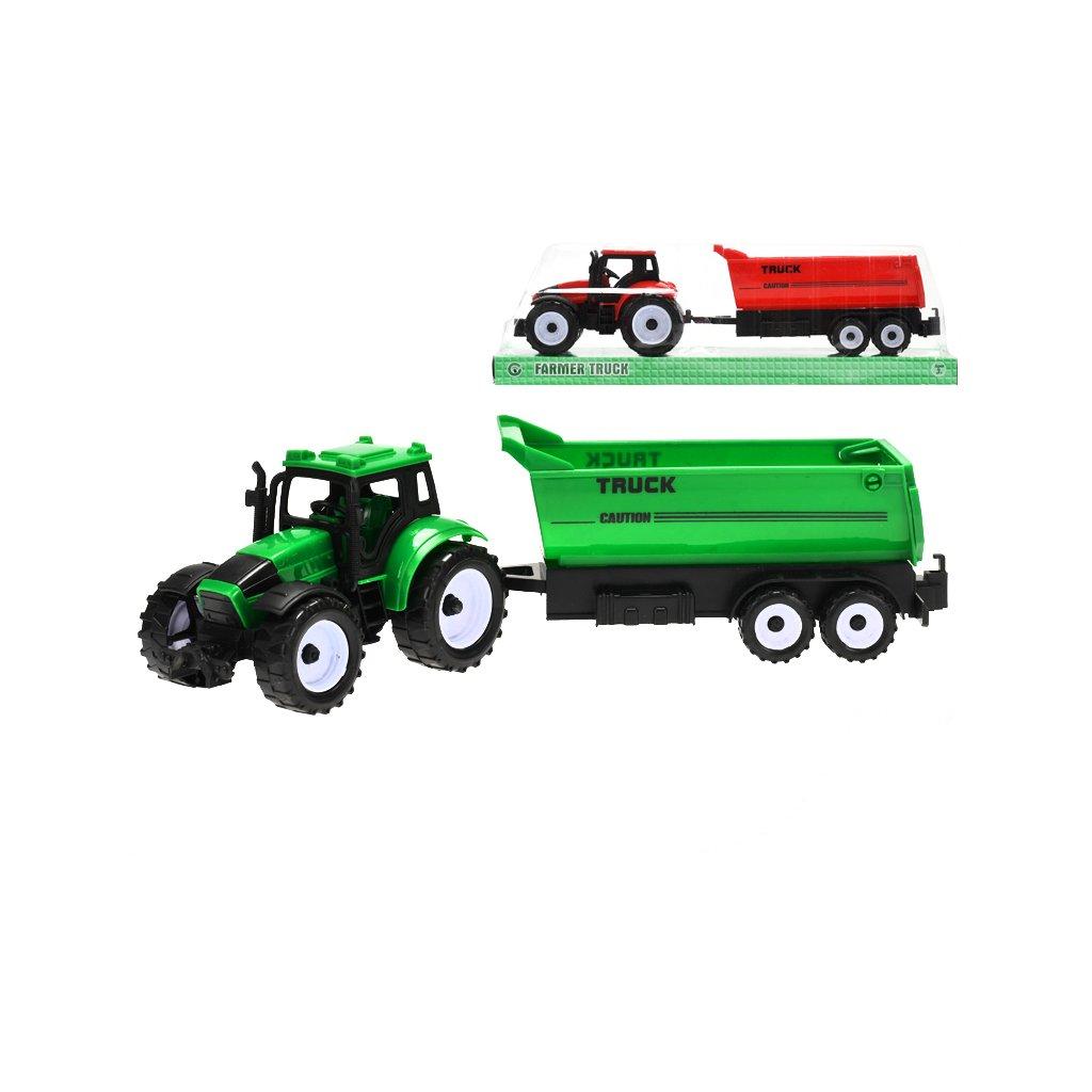 Traktor s vlečkou 29cm na zotrvačník 2farby v krabičke