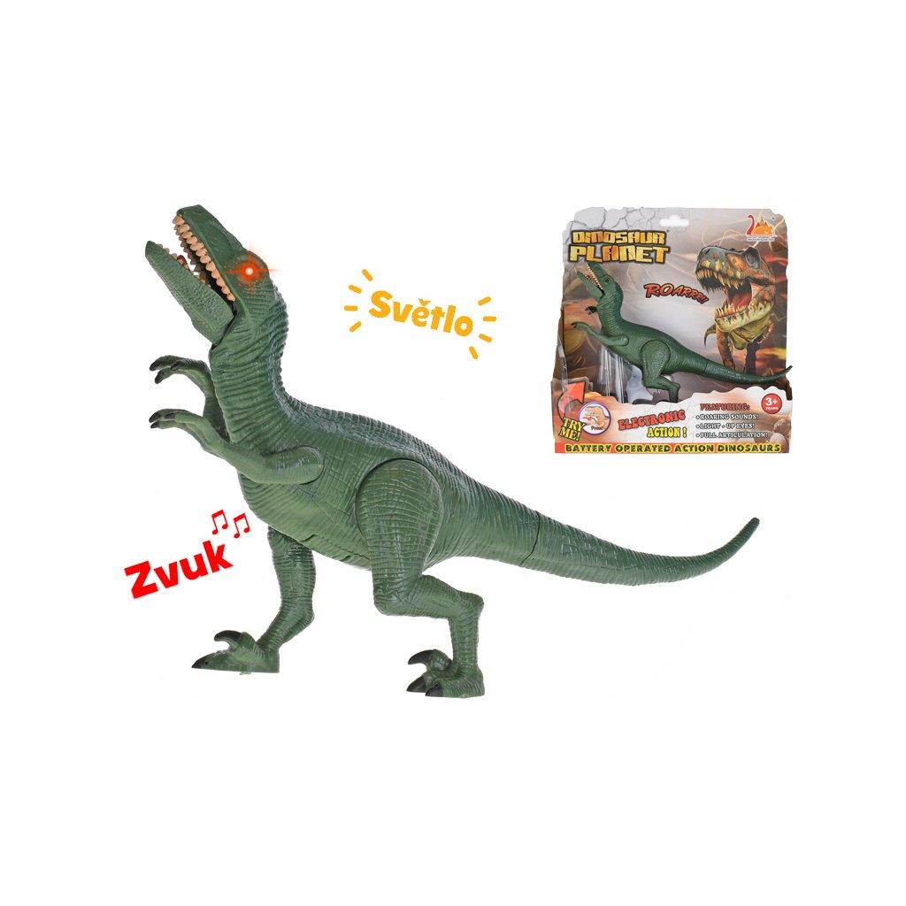 Dinosaurus Velociraptor 24cm na batérie so svetlom a zvukom v krabičke