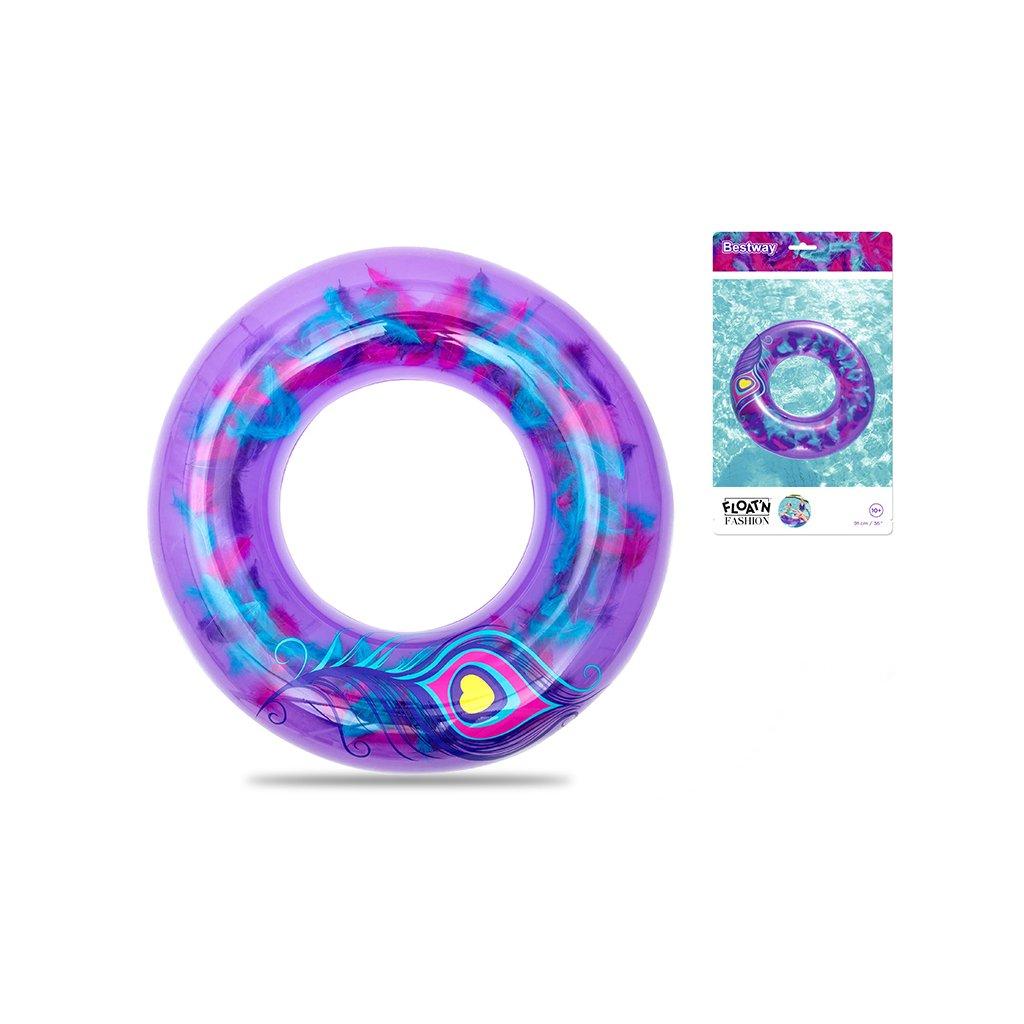 Kruh nafukovací 91cm s farebným perím 10+ v sáčku