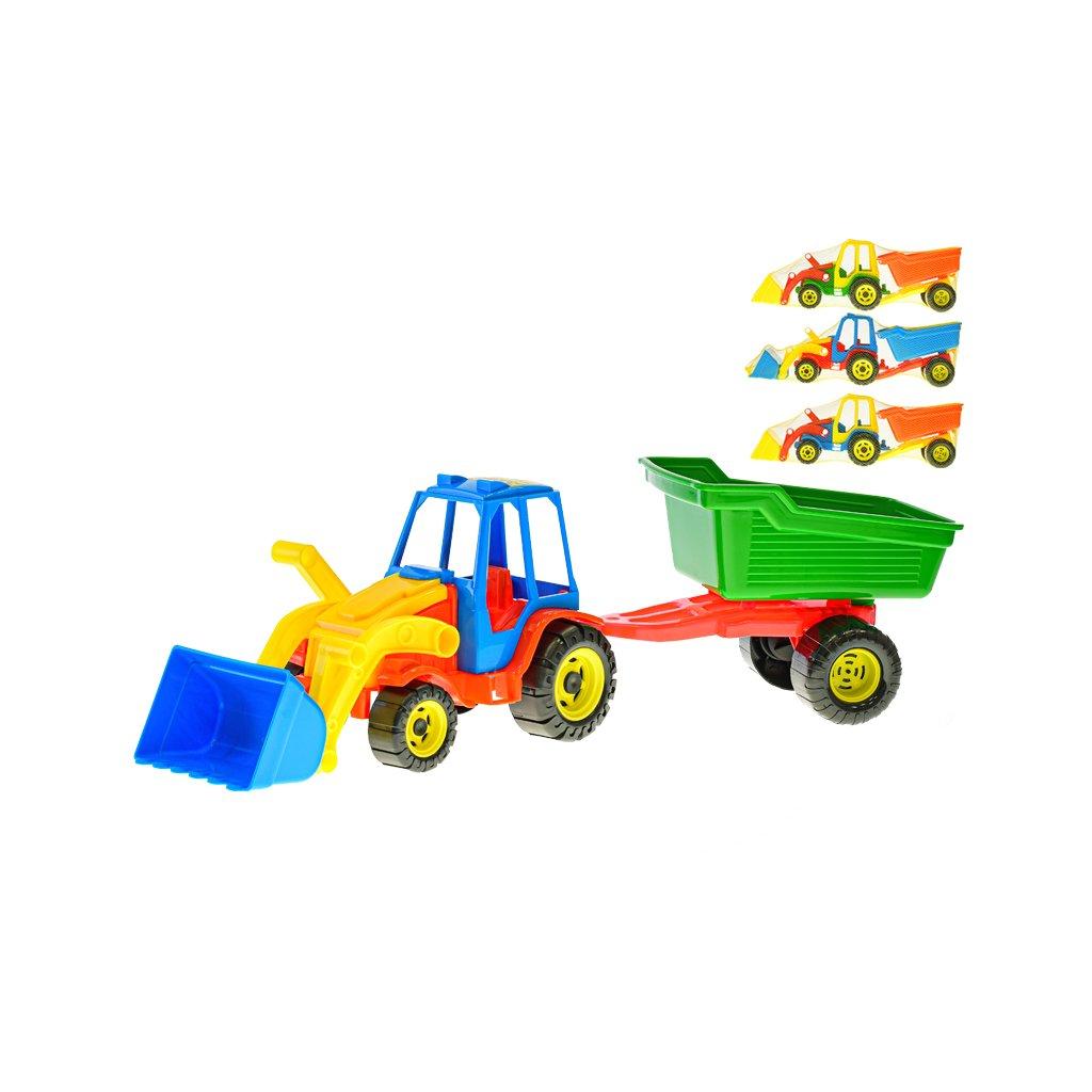 Traktor nakladač s vlečkou 51cm voľný chod 4farby v sieťke