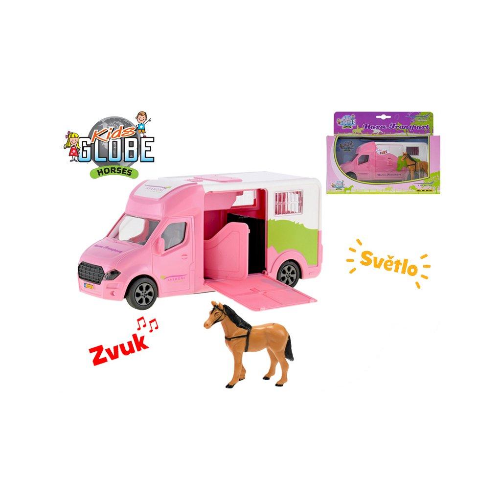 Auto prepravné 20cm kov na zotrvačník ružové na batérie so svetlom a zvukom s koňom v krabičke