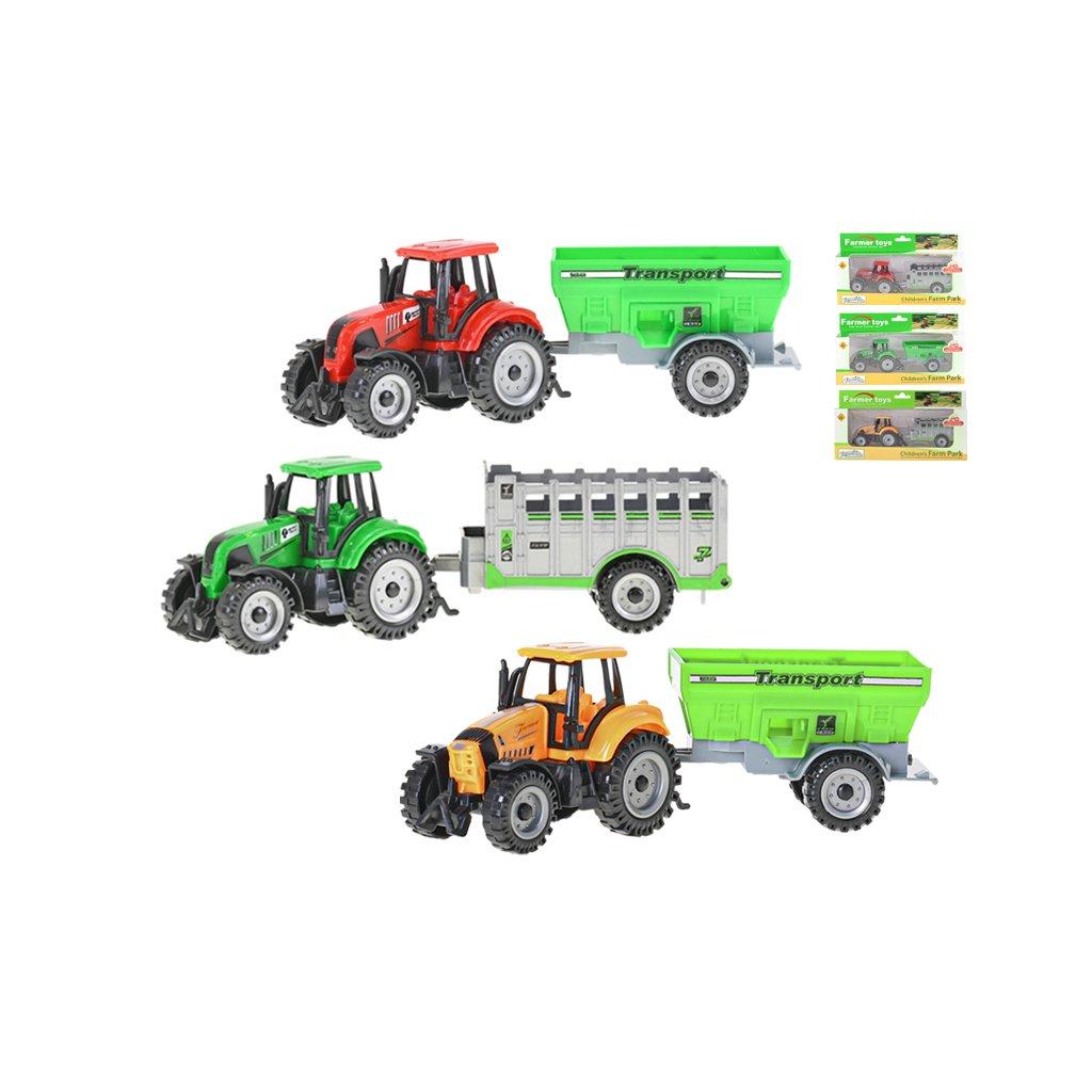 Traktor s vlečkou 17,5 -20cm voľný chod 2farby 2druhy v krabičke