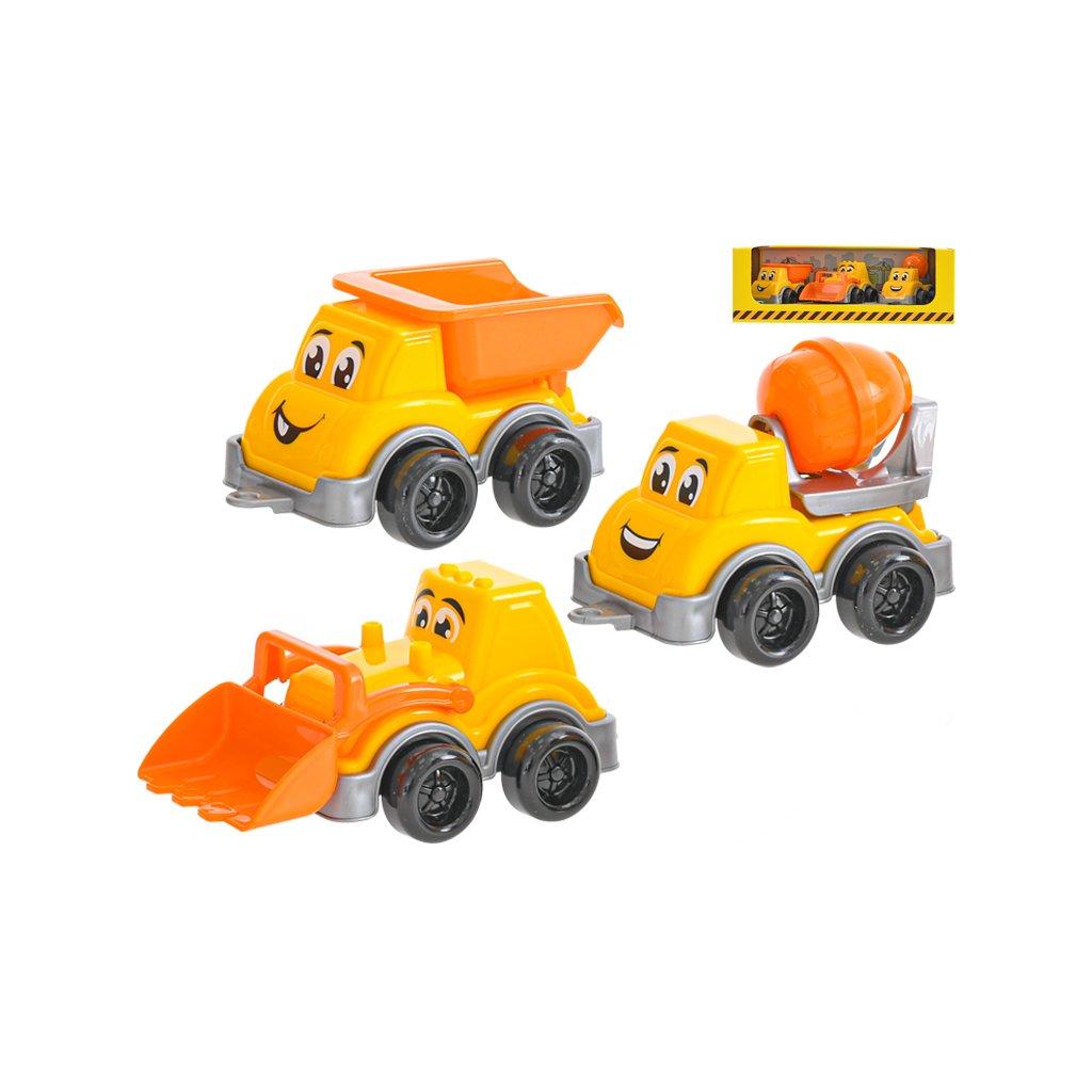 Autá stavebná veselá  11-13cm 3ks v krabičke