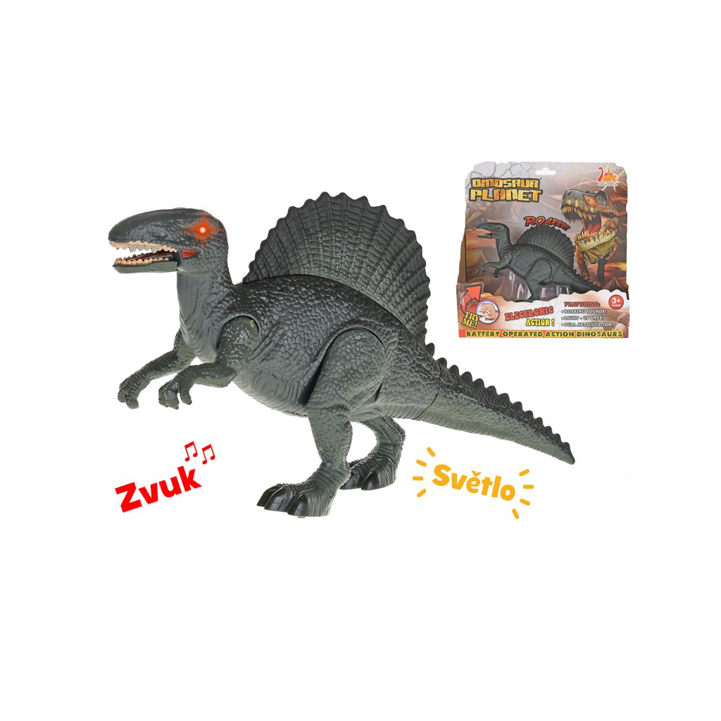 Dinosaurus Spinosaurus 24cm na batérie so svetlom a zvukom v krabičke