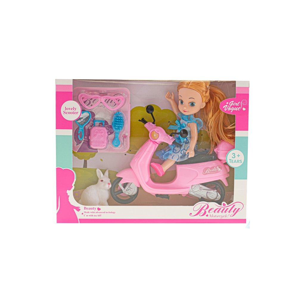 Bábika 15cm so skútrom, módnymi doplnkami a maznáčikom v krabičke