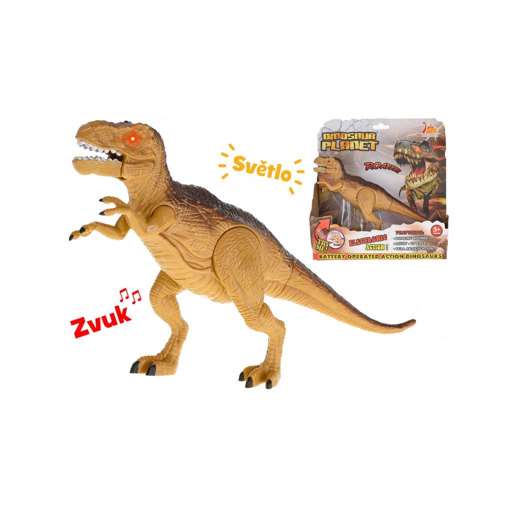 Dinosaurus Tyranosaurus 25cm na batérie so svetlom a zvukom v krabičke