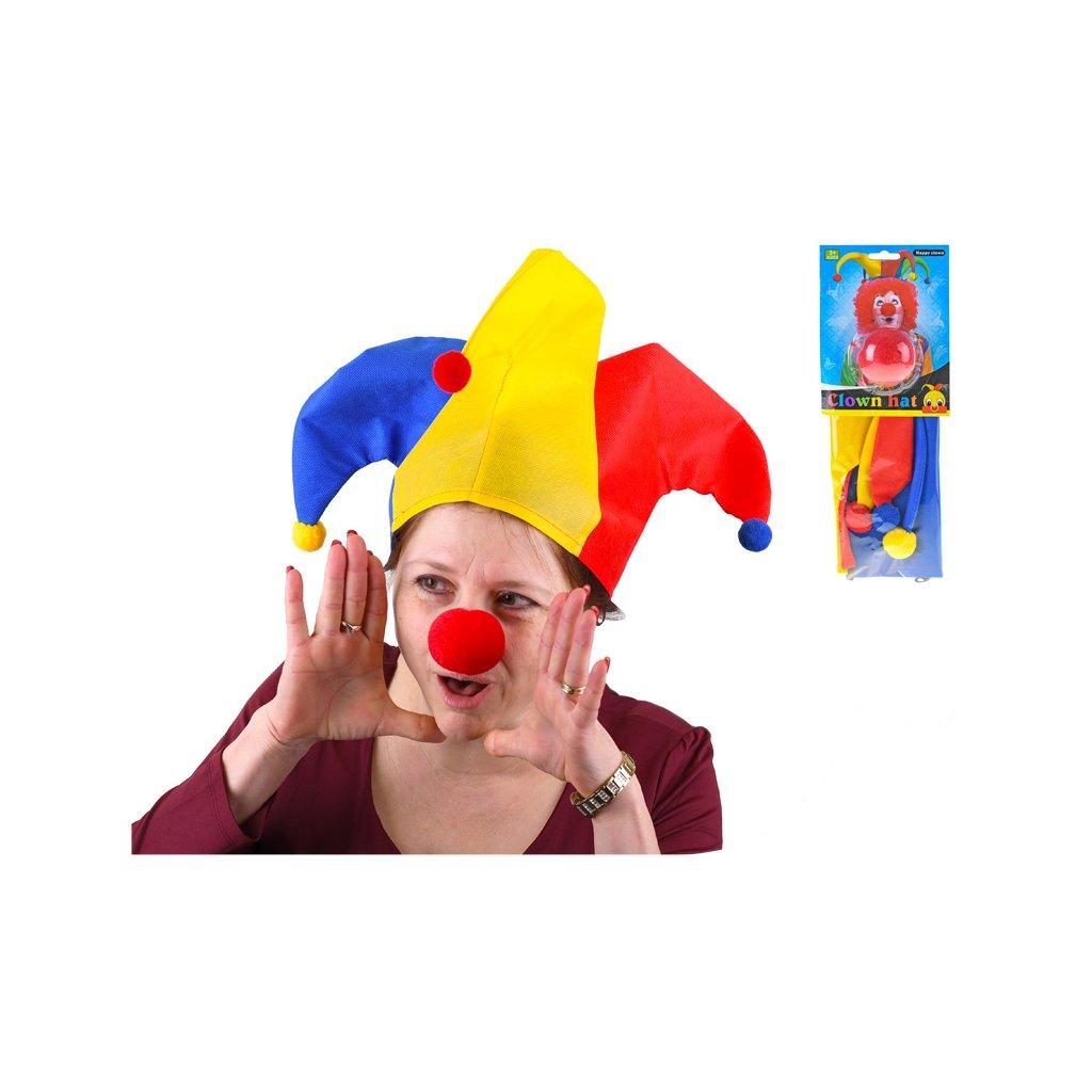 Klaunská čiapka s červeným nosom v sáčku