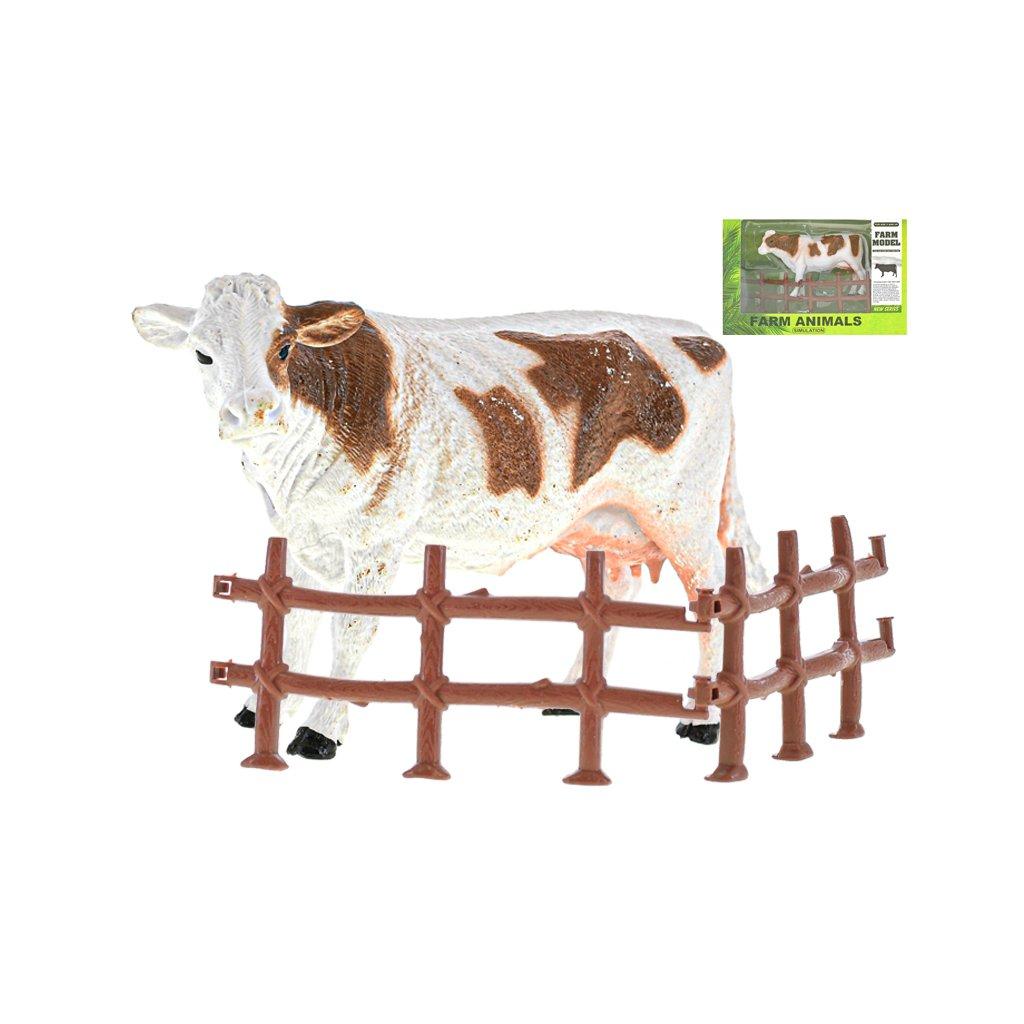 Krava 13cm s ohradou v krabičke