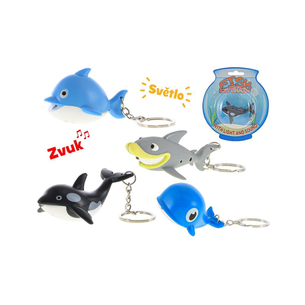Prívesok na kľúče 5-7cm zvieratko morské na batérie so svetlom a zvukom 4druhy na karte
