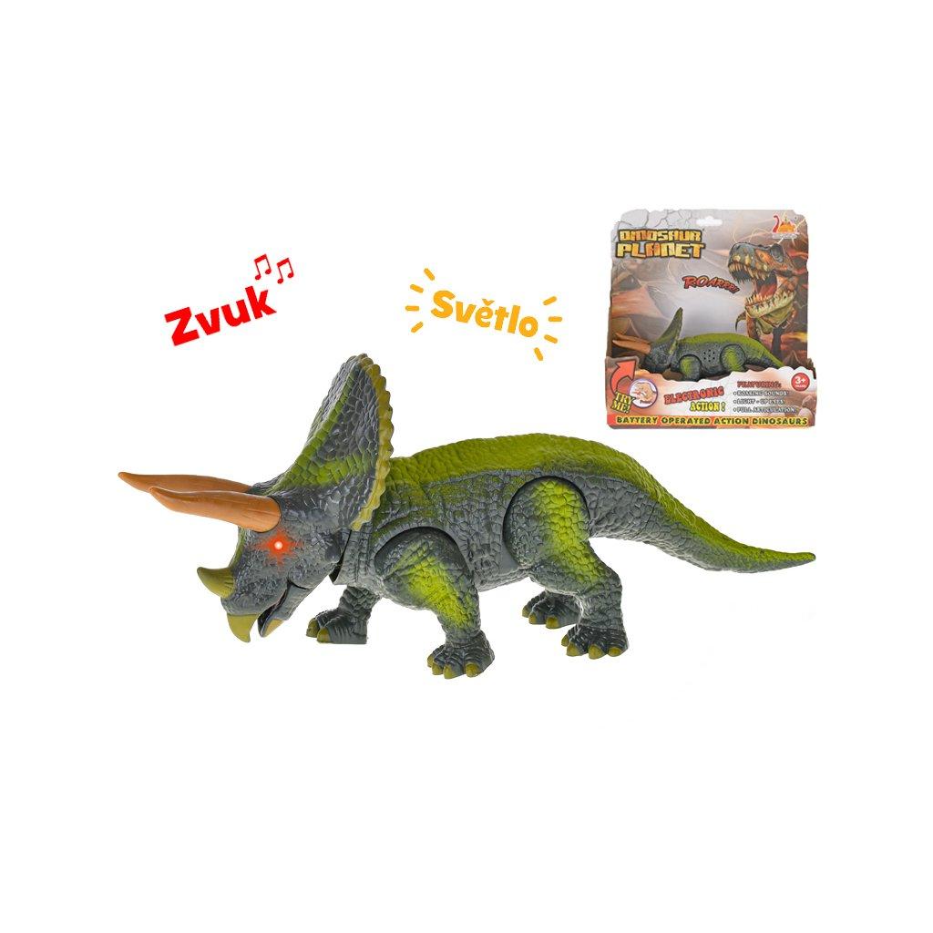 Dinosaurus Triceratops 23cm na batérie so svetlom a zvukom v krabičke