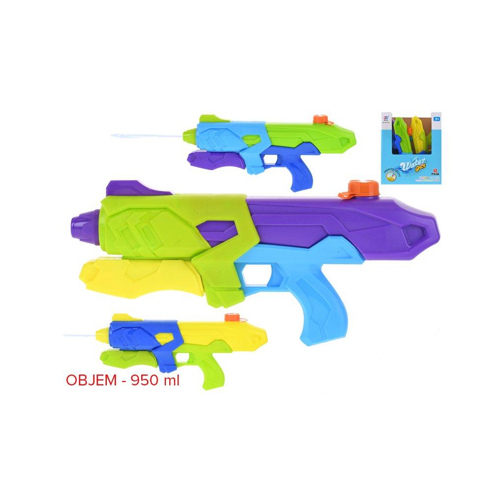 Vodná pištola 42cm s pumpou 3farby 12ks v PDQ