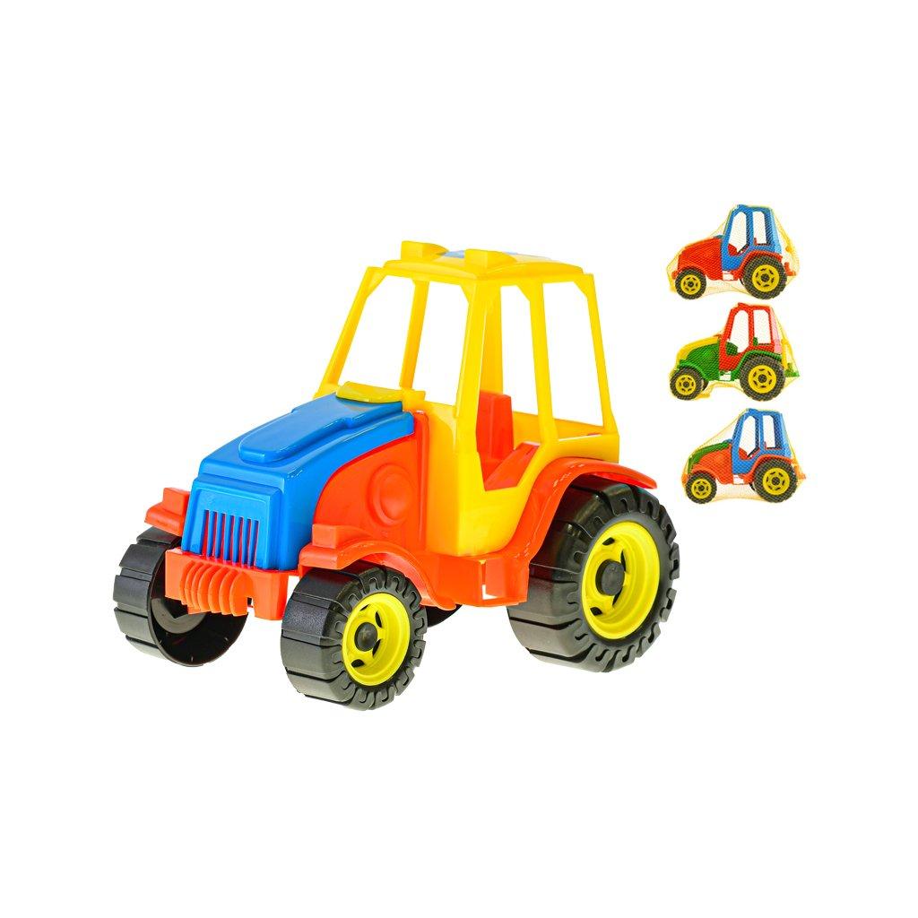 Traktor 21cm voľný chod 4farby v sieťke
