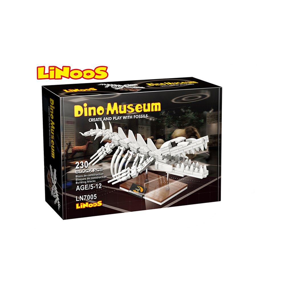 LiNooS stavebnica 230ks skelet dinosaurus Mosasaurus v krabičke