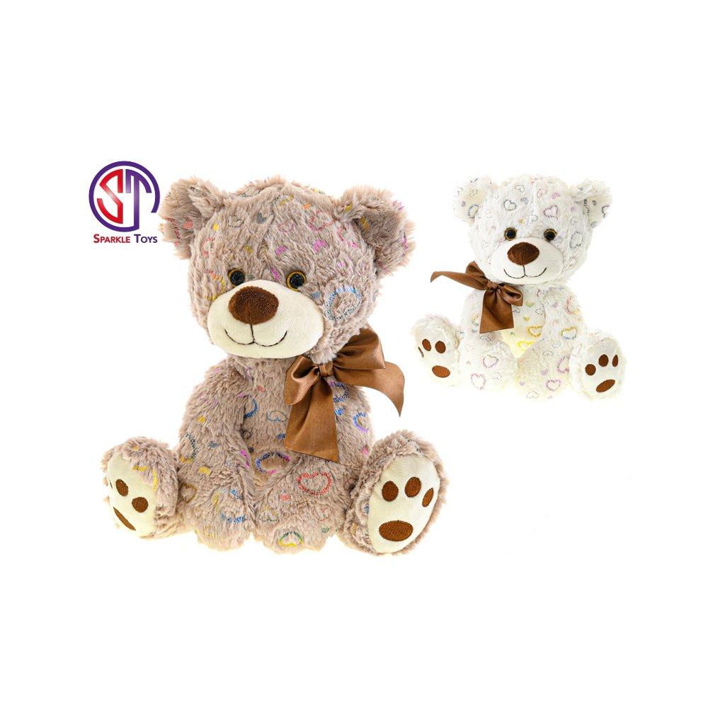 Medveď plyšový 25cm sediaci s mašľou 2farby 0m+ v sáčku