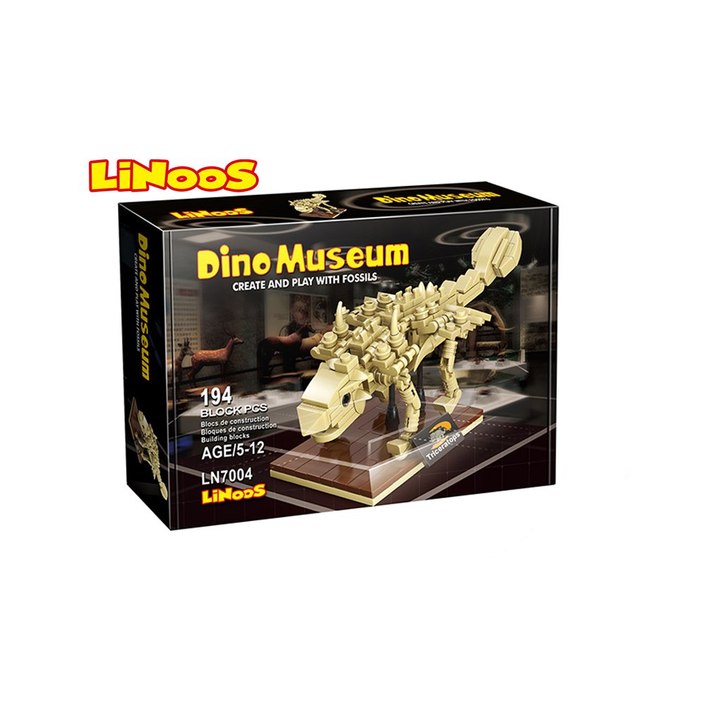 LiNooS stavebnica 194ks skelet dinosaurus Ankylosaurus v krabičke
