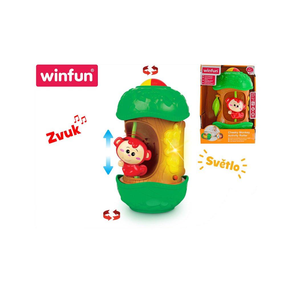 Valec s veselou opicou 20cm na batérie so svetlom a zvukom 6m+ v krabičke