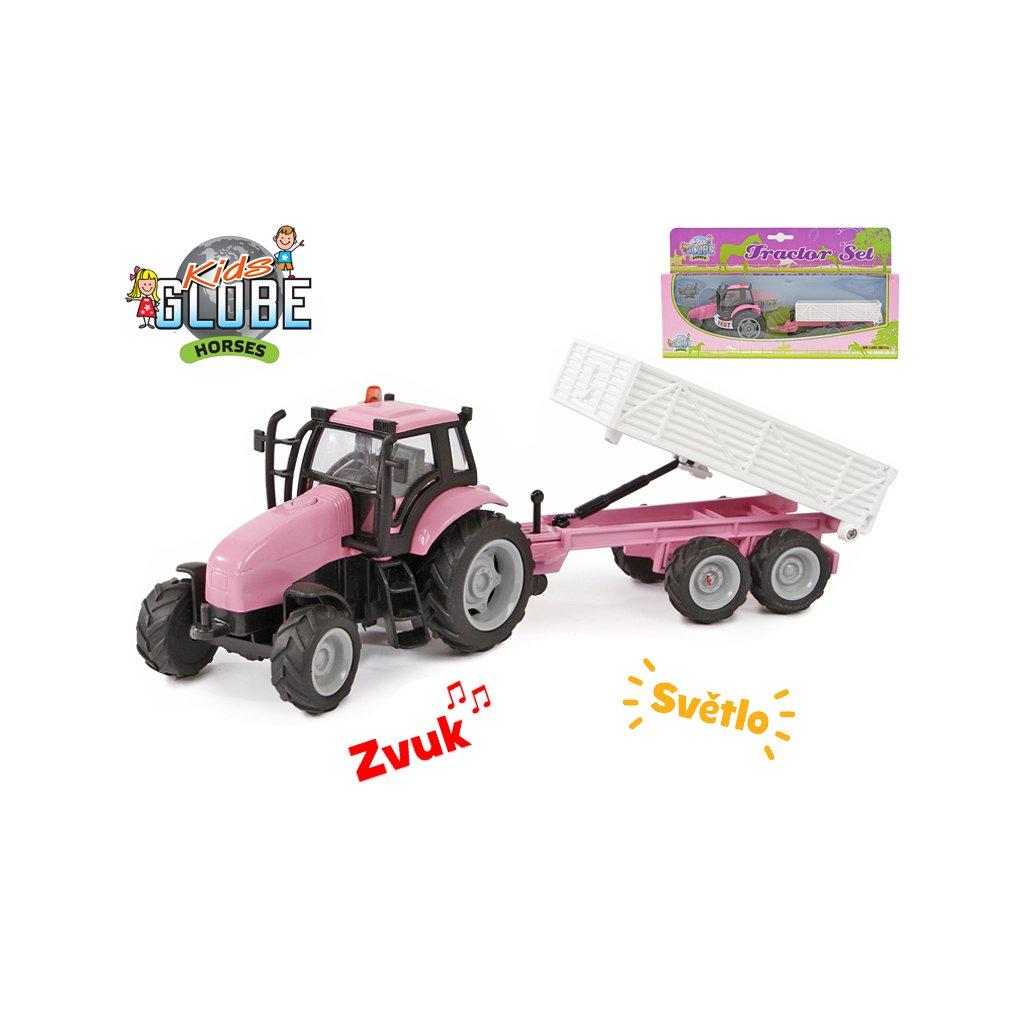 Traktor s vlečkou 25cm kov na zotrvačník na batérie so svetlom a zvukom v krabičce