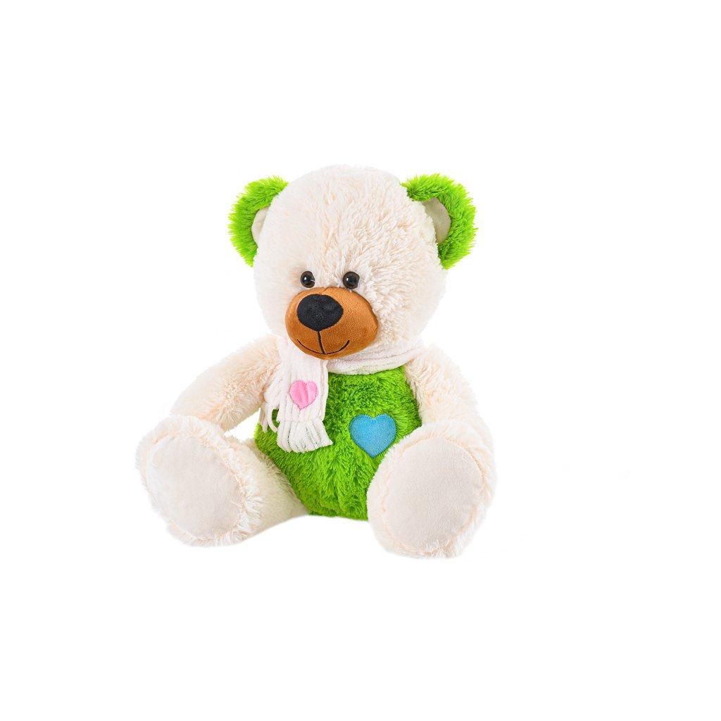 Medveď plyšový 38cm sediaci so srdiečkom 0m+ v sáčku
