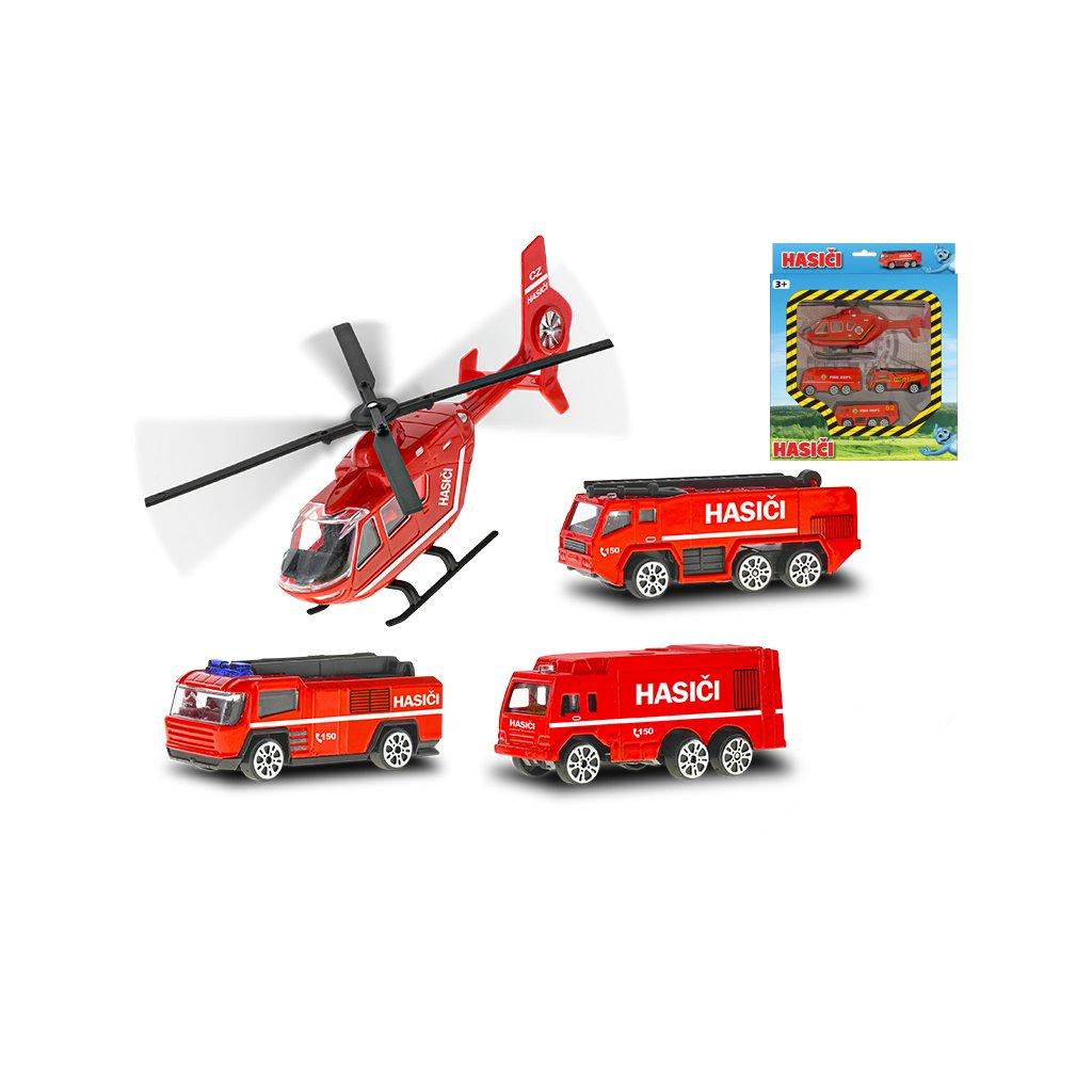 Vozidlá hasiči 7cm kov voľný chod 3ks s vrtuľníkom 17cm v krabičke