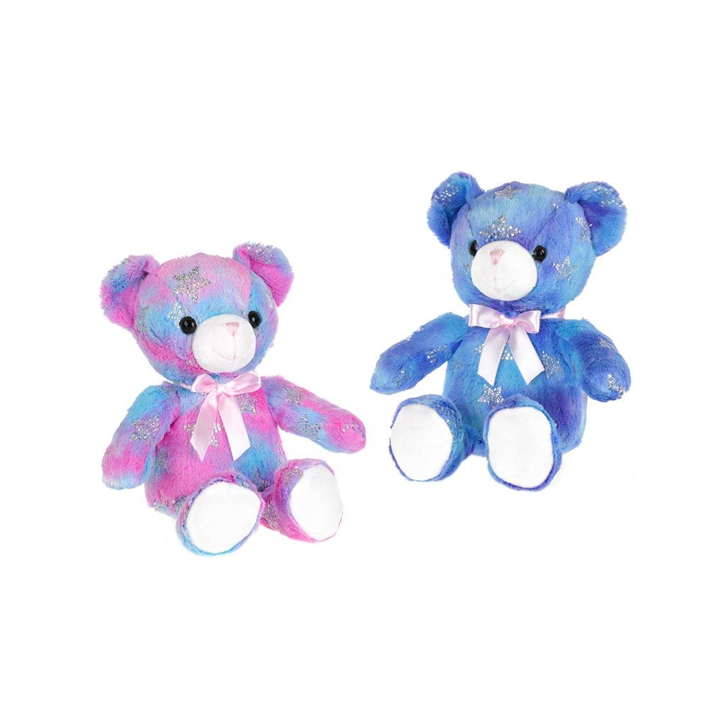 Medveď farebný plyšový 25cm sediaci s mašľou 2farby 0m+