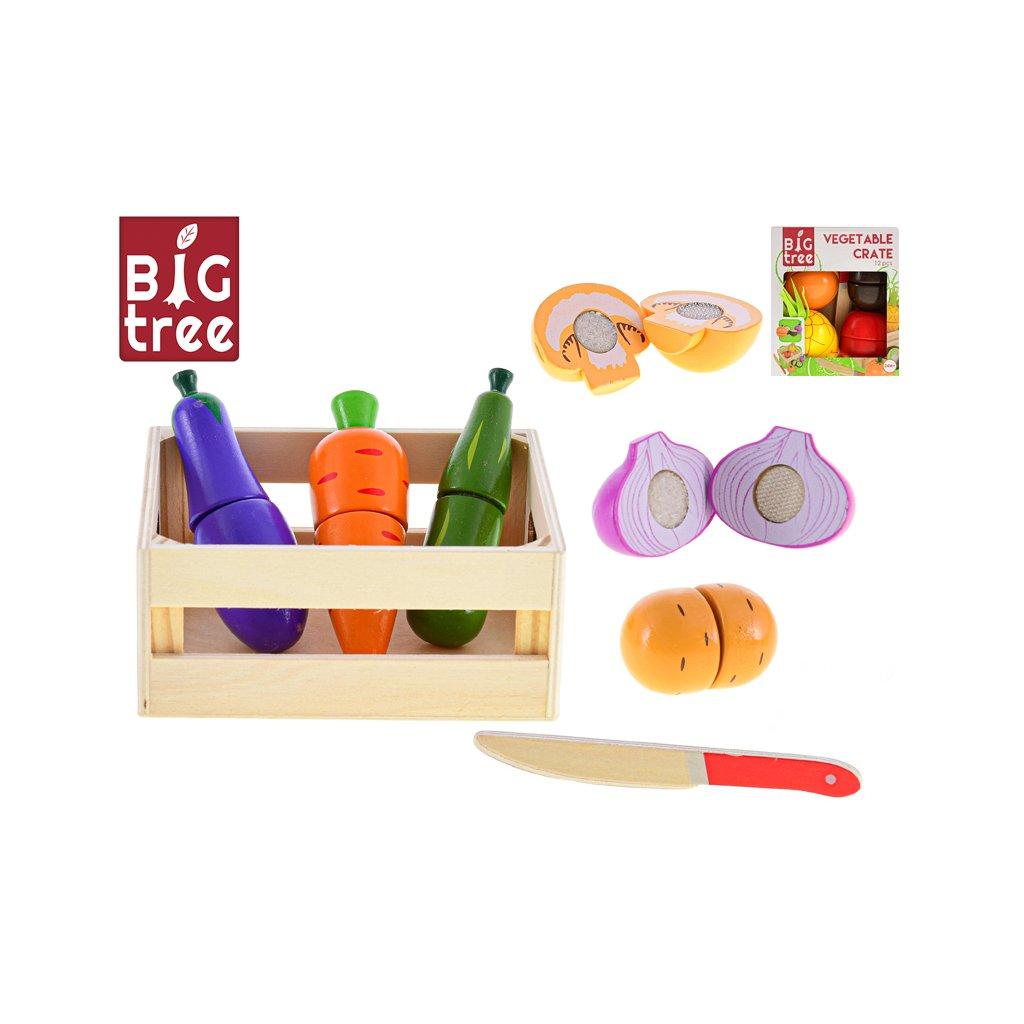 Košík drevený 14x12cm s krájacím ovocím/zeleninou 11-13dielikov 2druhy 24m+ ve fólii