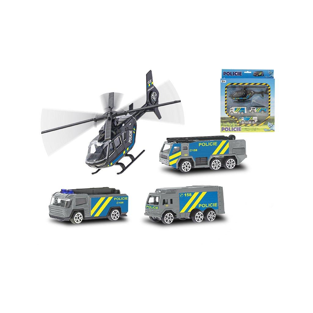 Vozidlá polícia 7cm kov voľný chod 3ks s vrtuľníkom 17cm v krabičke