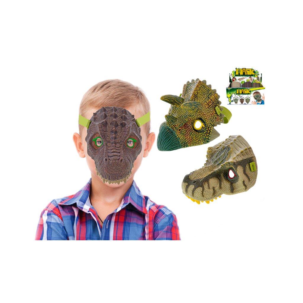 Maska dinosaurus 19cm 3druhy 12ks v DBX
