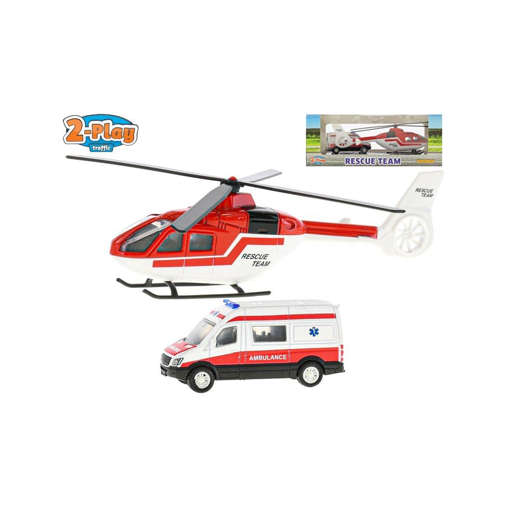 Sada záchranári helikoptéra 16cm kov + auto ambulancie 7cm kov 2-Play v krabičke