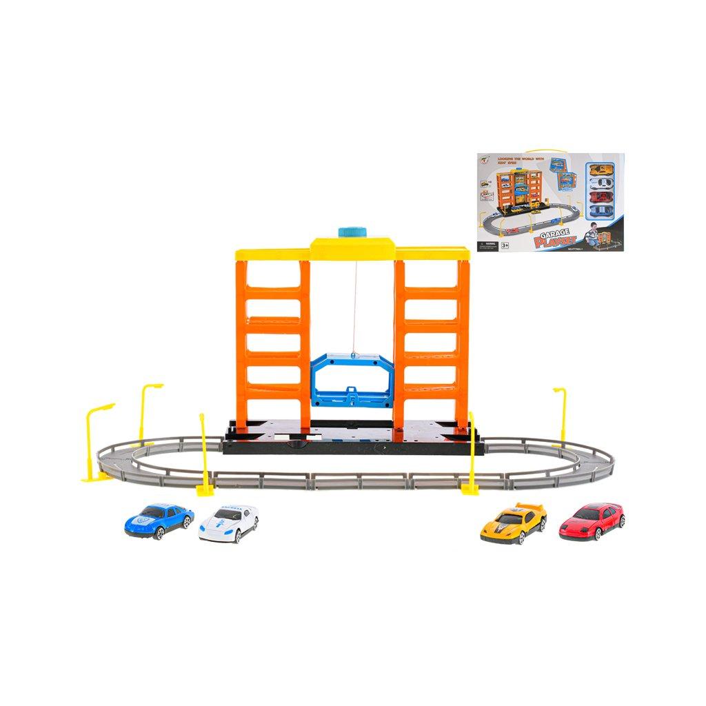 Parkovacia garáž 57x36x22,5cm s výťahom a autami 6,5cm 4ks voľný chod v krabičke