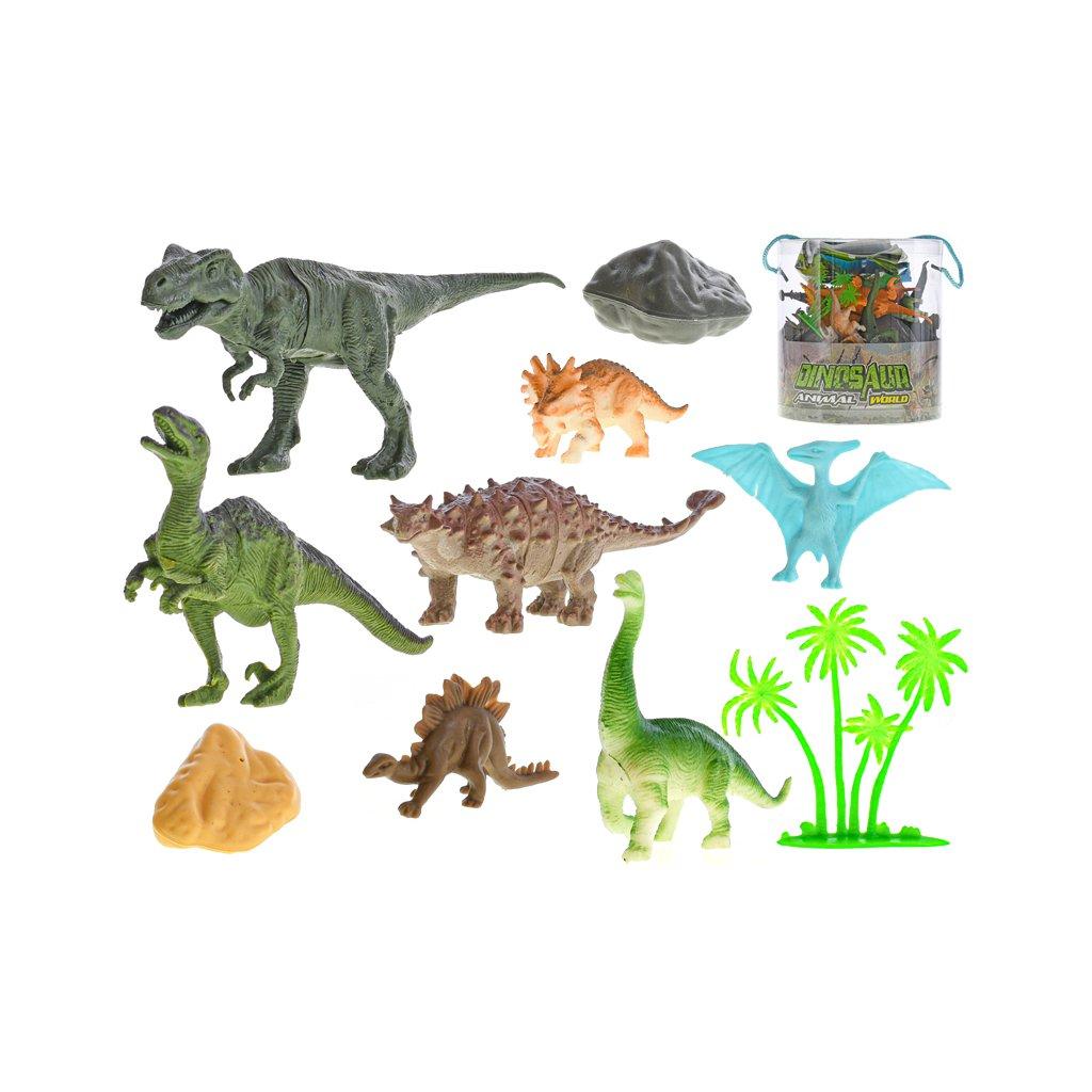 Sada dinosaury 4,5-17cm s doplnkami 34ks vo vedre