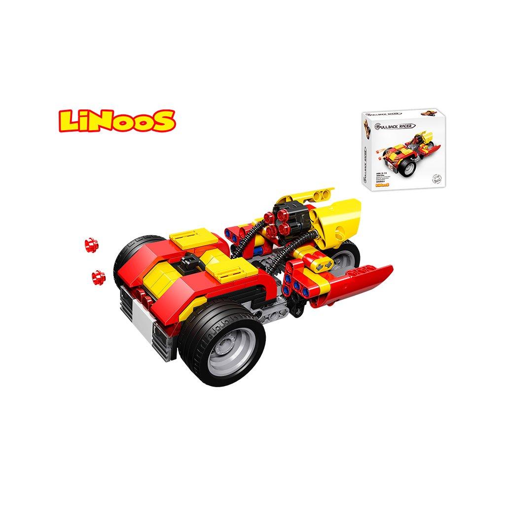 LiNooS stavebnica 224ks auto športové na spätný chod v krabičke