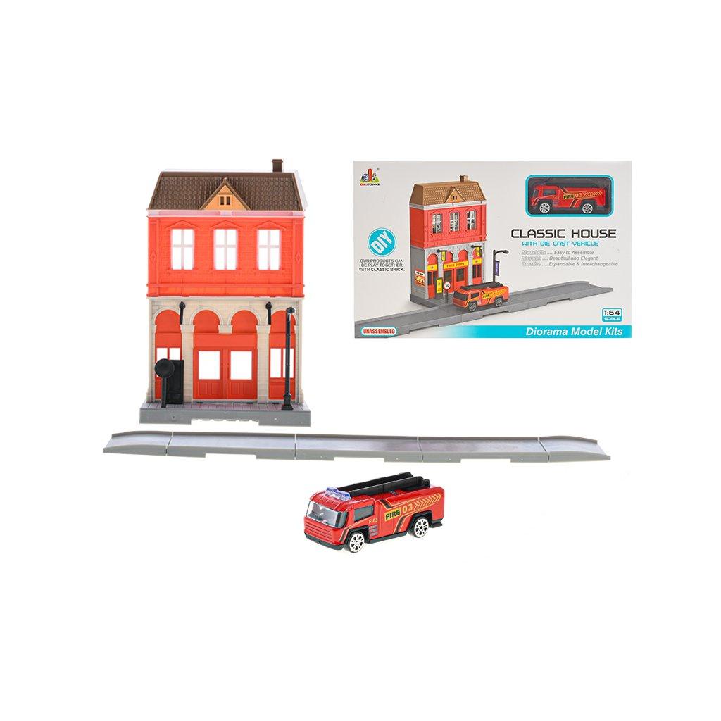 Hasičská stanica skladacia s autom hasiči 7cm kov na voľný chod v krabičke