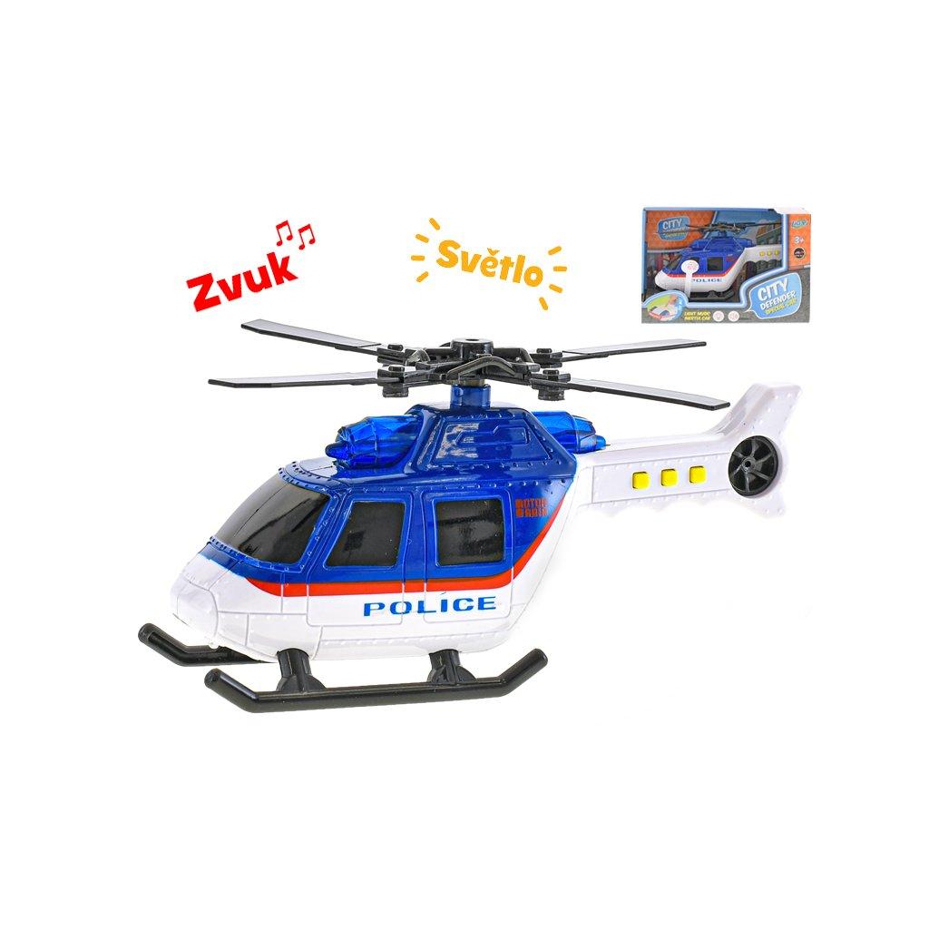 Vrtuľník polícia 18cm na batérie so svetlom a zvukom v krabičke