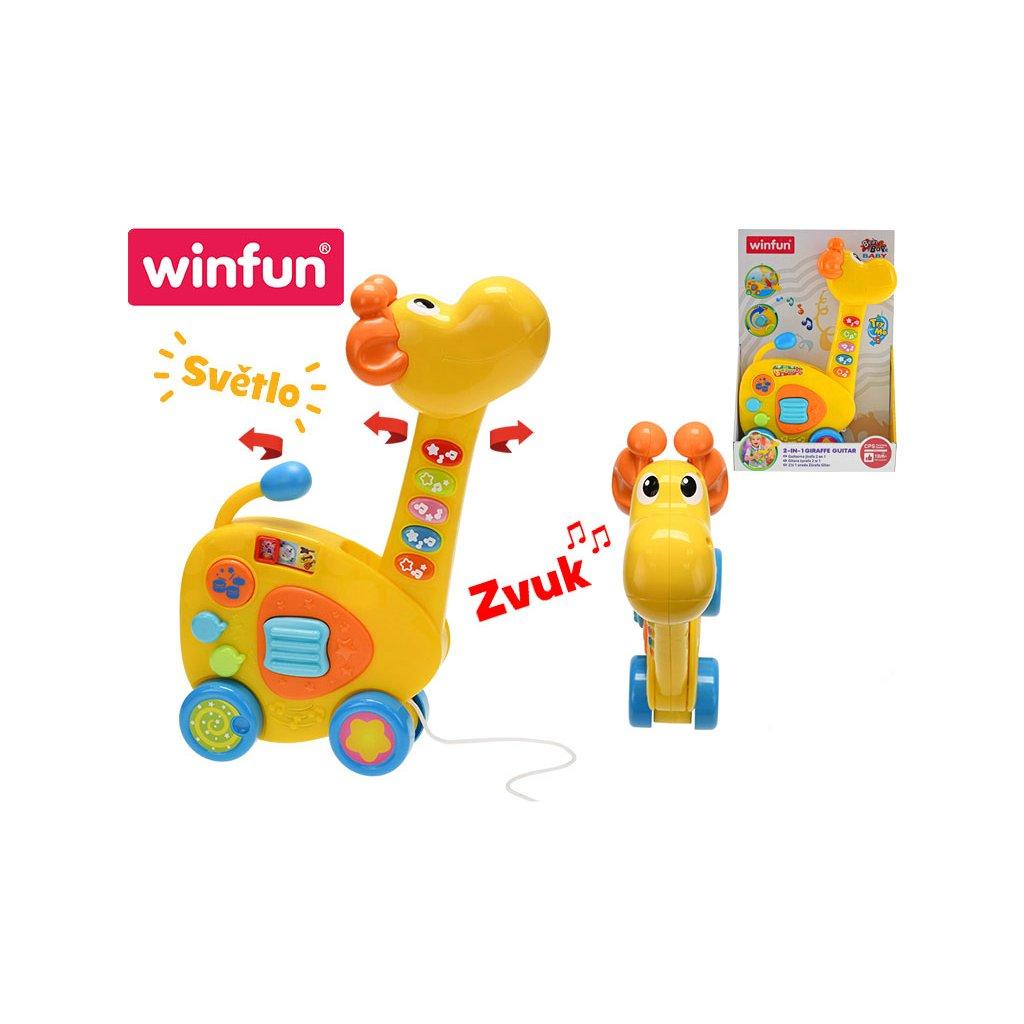 Žirafa ťahacia/gitara 2v1 34cm na batérie so svetlom a zvukom 18m+ v krabičke
