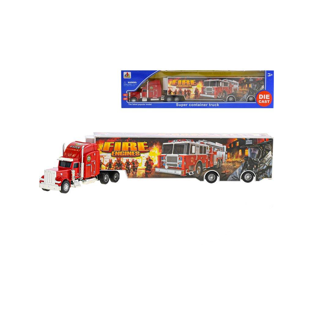 Kamión hasiči 35cm kov voľný chod v krabičke