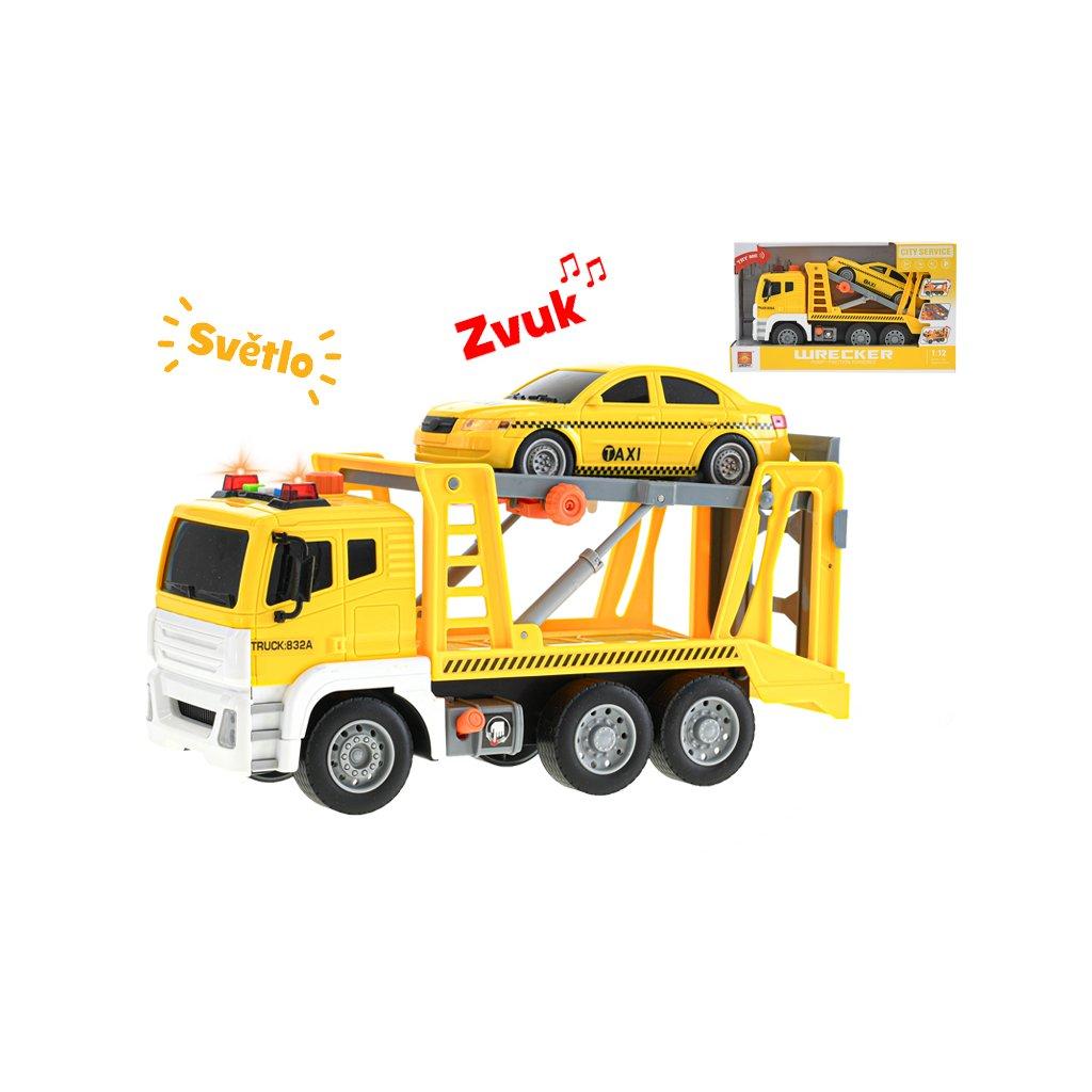 Auto prepravné 30cm 1:12 na zotrvačník na batérie so svetlom a zvukom s autom taxi v krabičke
