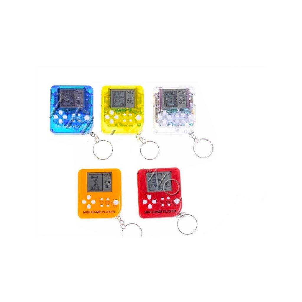 Prívesok na kľúče mini brickgame 6cm na batérie so zvukom 6farieb na karte