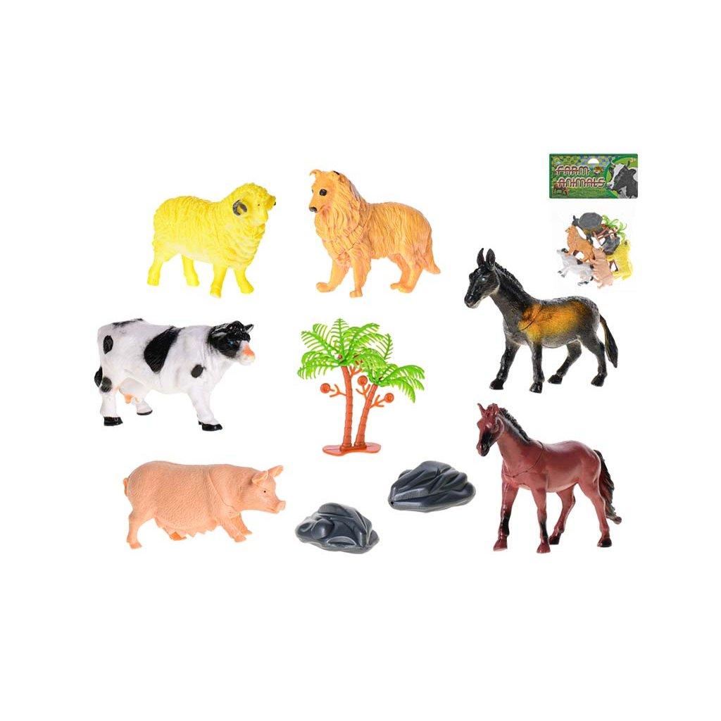 Zvieratká farma 8-10cm 6ks s doplnkami v sáčku