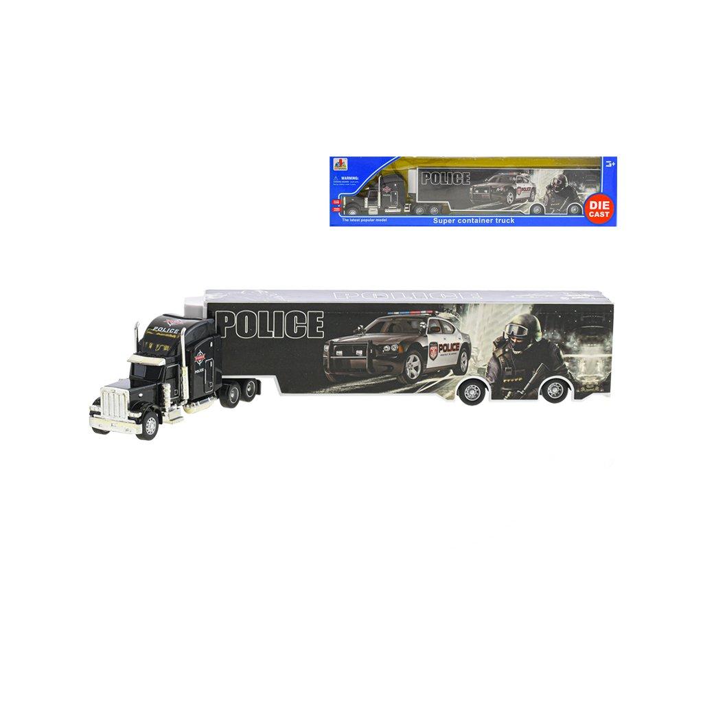 Kamion policie 35cm kov na volný chod v krabičce