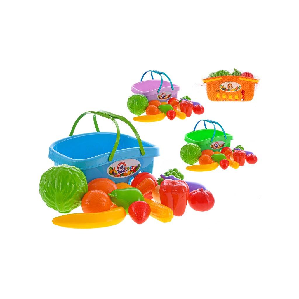 Ovocie a zelenina v plastovom košíku 4farby v sieťke