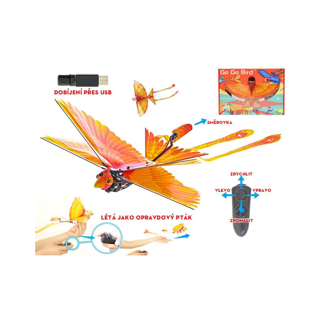 R/C Go Go Bird 18cm na batérie lietajúci s USB žltý 2,4GHz 8+ v krabičke