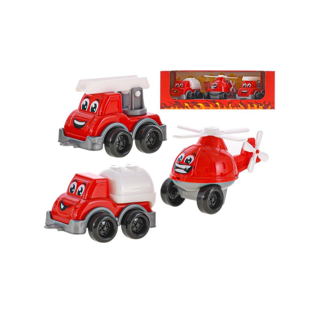 Sada hasičských vozidiel 11cm 3ks v krabičke