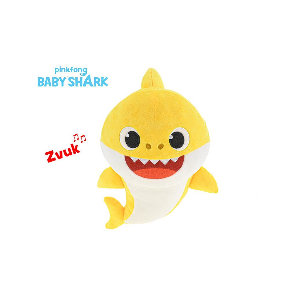 Baby Shark plyšový 28cm žltý na batérie so zvukom 12m+ v sáčku
