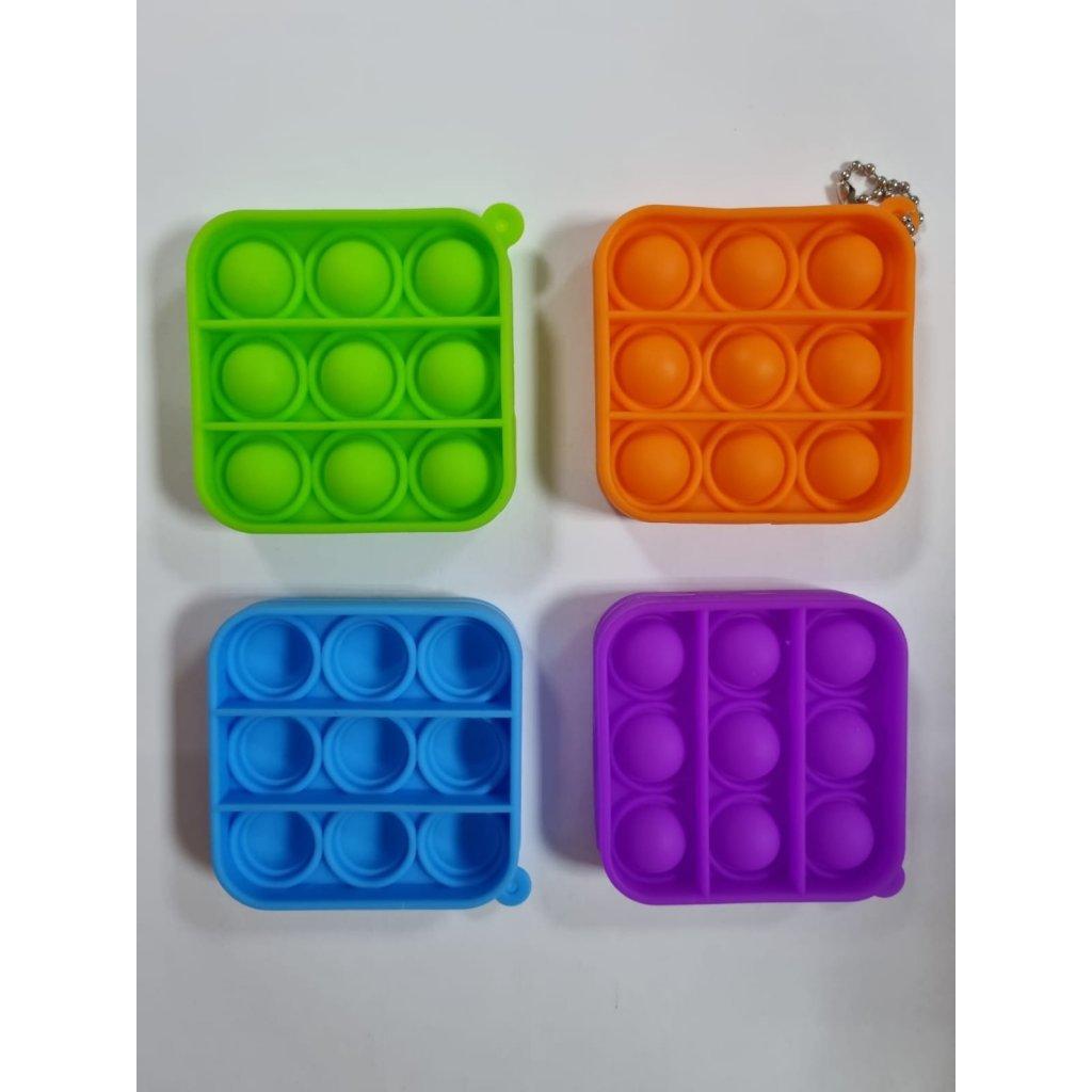 Antistresová hračka  POP IT prívesok štvorec 6,5cm, 9845/ORA - Oranžová