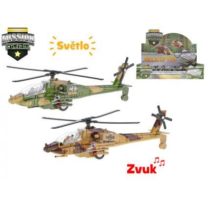 Helikoptéra vojenská 20cm kov spätný chod na batérie so svetlom a zvukom 2farby