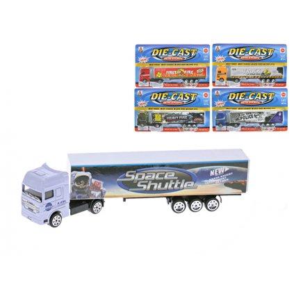 Kamión kontajnerový 20cm kov voľný chod 5 druhov na karte