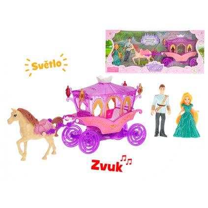 Kočiar s koňom 29cm s princeznou a princom 10cm na batérie so svetlom a zvukom v krabičke