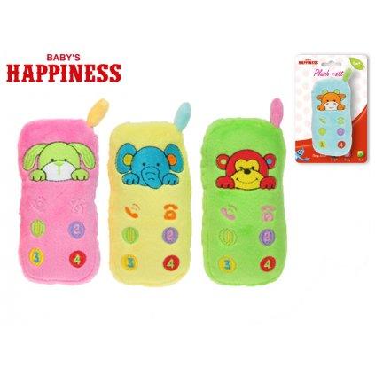 Hrkálka plyšová telefón 12cm so zvieratkom Baby's Happiness 0m+ 4farby na karte